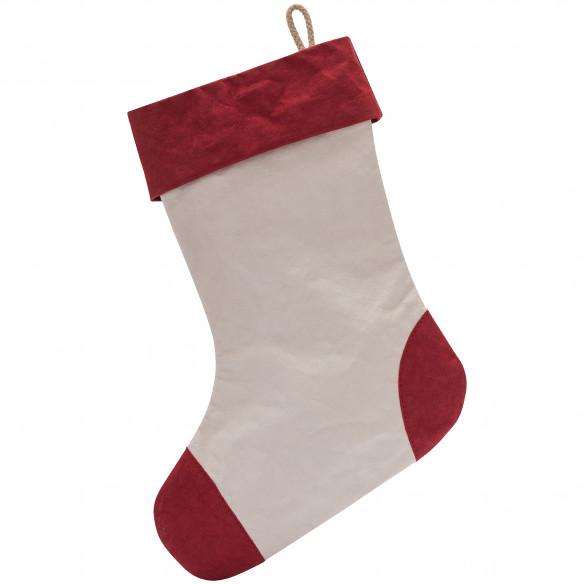 Julesok i sandfarve med rød kant i Aggo® papir fra UASHMAMA