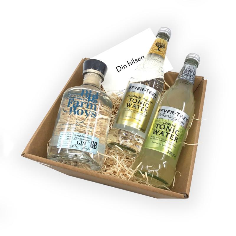 Gin & Tonic Gavekurv  - 1 flaske Grand Botanical Gin, 1 flaske Premium Indian Tonic Water og 1 flaske Lemon Tonic Water