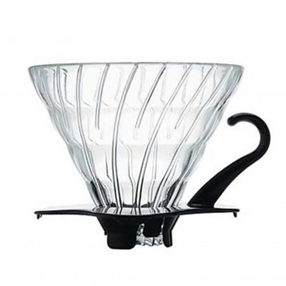 V60 02 Dripper - glas m sort håndtag fra Hario