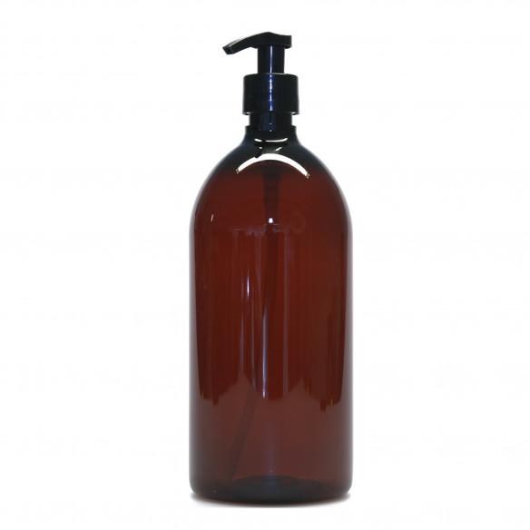 Plastik flaske med pumpe i brun fra PLINT - 1 liter