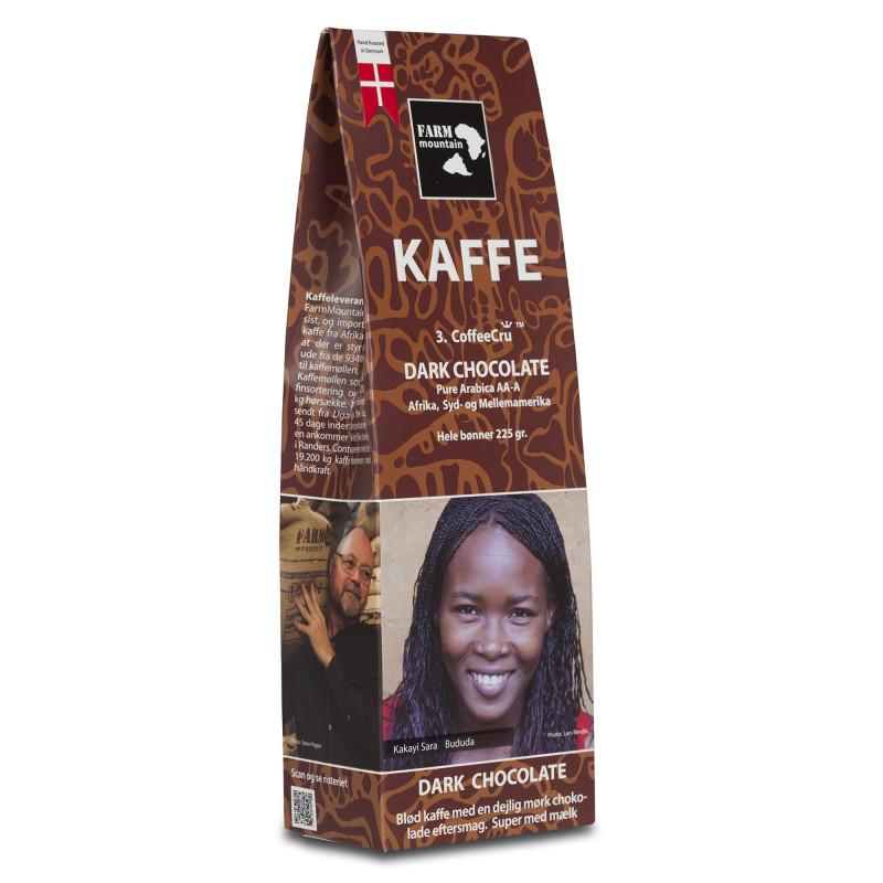 Dark Chocolate (225 gram) fra Farm Mountain - hele kaffebønner med chokolade smag