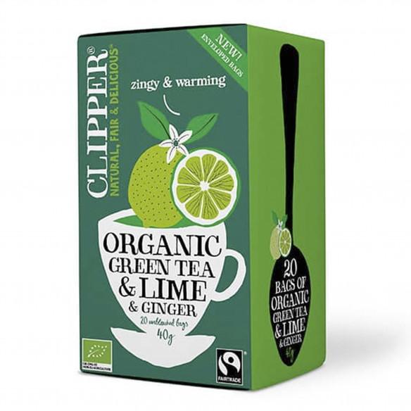 Økologisk grøn te med lime og ingefær fra Clipper