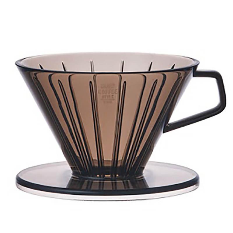 Grå kaffetragt i plastik. SCS-02-BR-CGY, 2 kops, fra Kinto