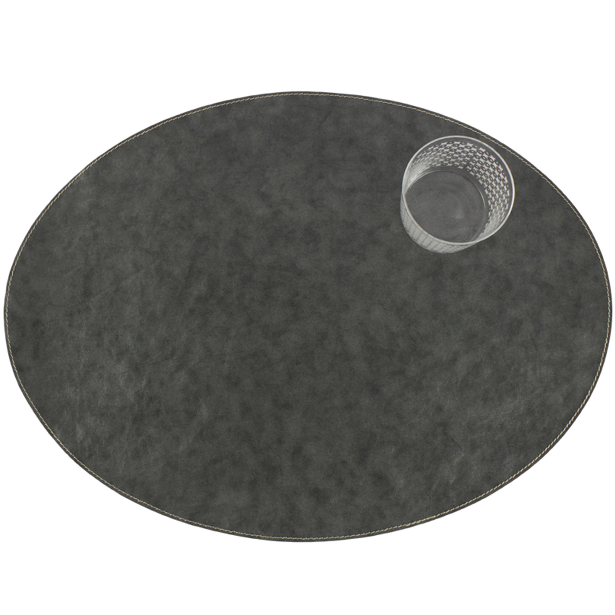 Dækkeserviet, Oval – Mørkegrå