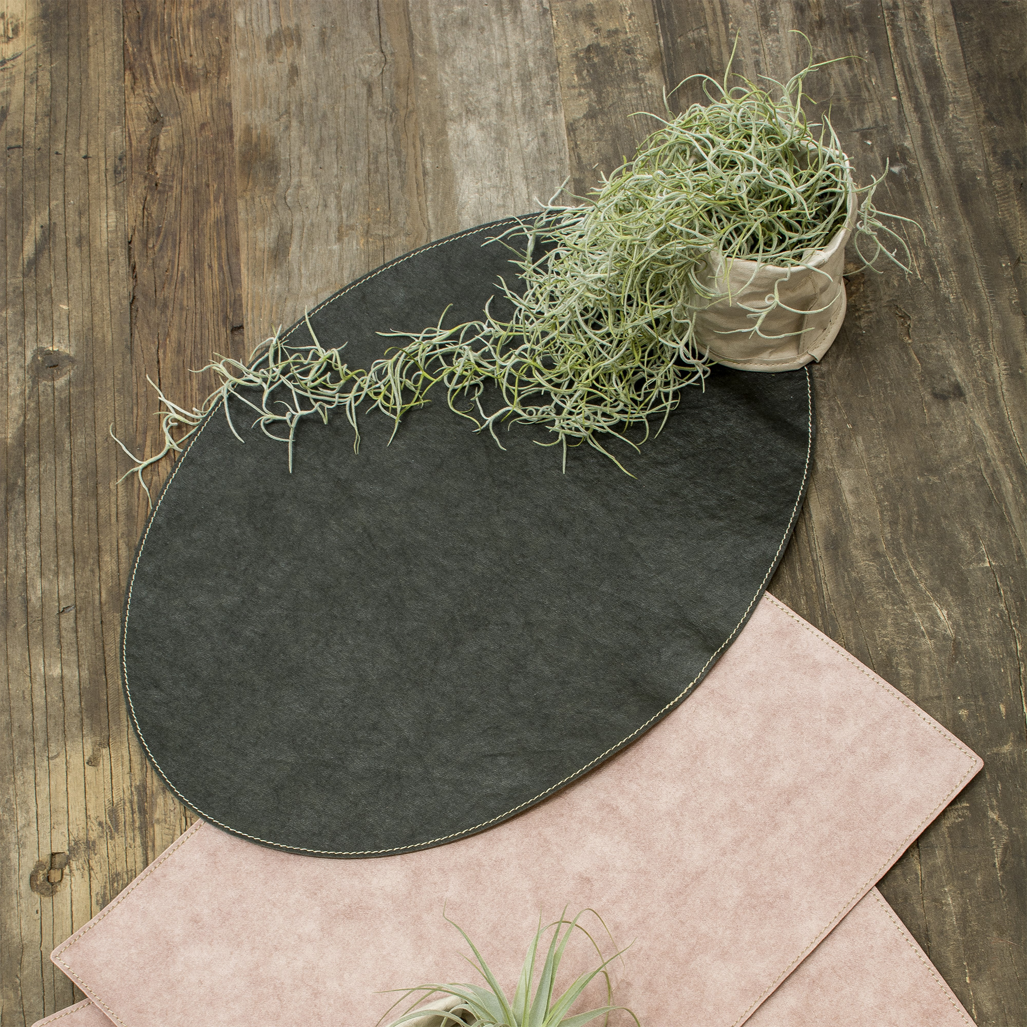 Dækkeserviet, Oval – Mørkegrøn